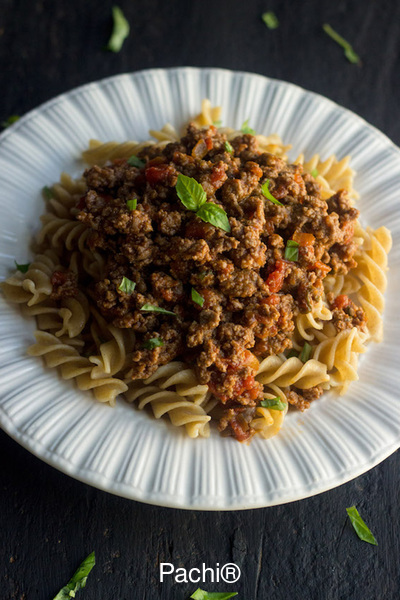 Whole Wheat Pasta with Meat Sauce
